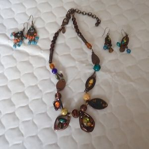 Chico's Colorful Necklace and 2 Pair Pierced Earri